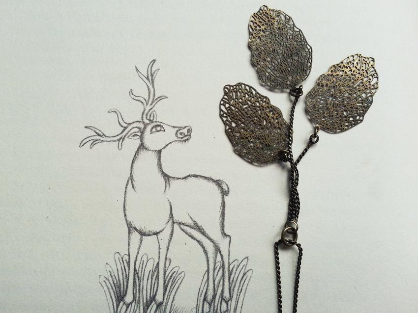 """Wisiorek z H&M na tle ilustracji z książki Jerzego Ficowskiego """"Gałązka z Drzewa Słońca"""", ilustracja: Olga Siemaszko."""
