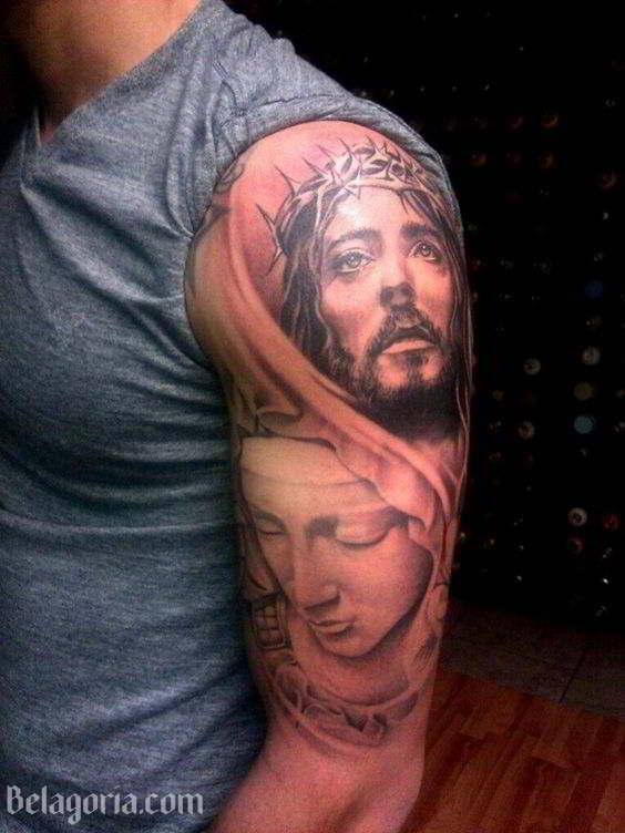 Tatuaje De La Virgen María Y Jesús