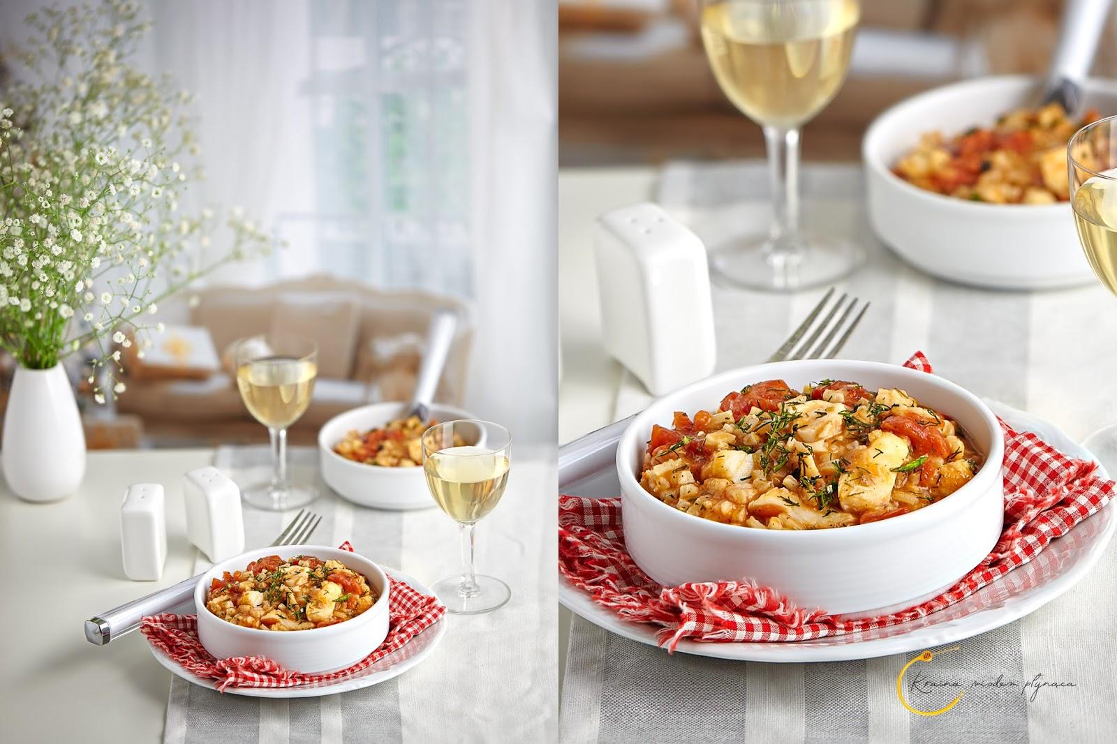 risotto z pomidorami i dorszem, risotto pomidorowe, risotto z rybą, risotto bez wina, kraina miodem płynąca, fotografia kulinarna