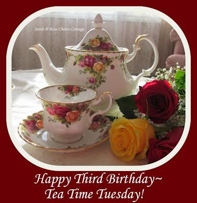 You are invited to join me for Tea Time Tuesday's 3rd Birthday Party