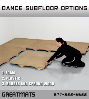 Greatmats dance subfloor options infographic foam rubber plastic wood