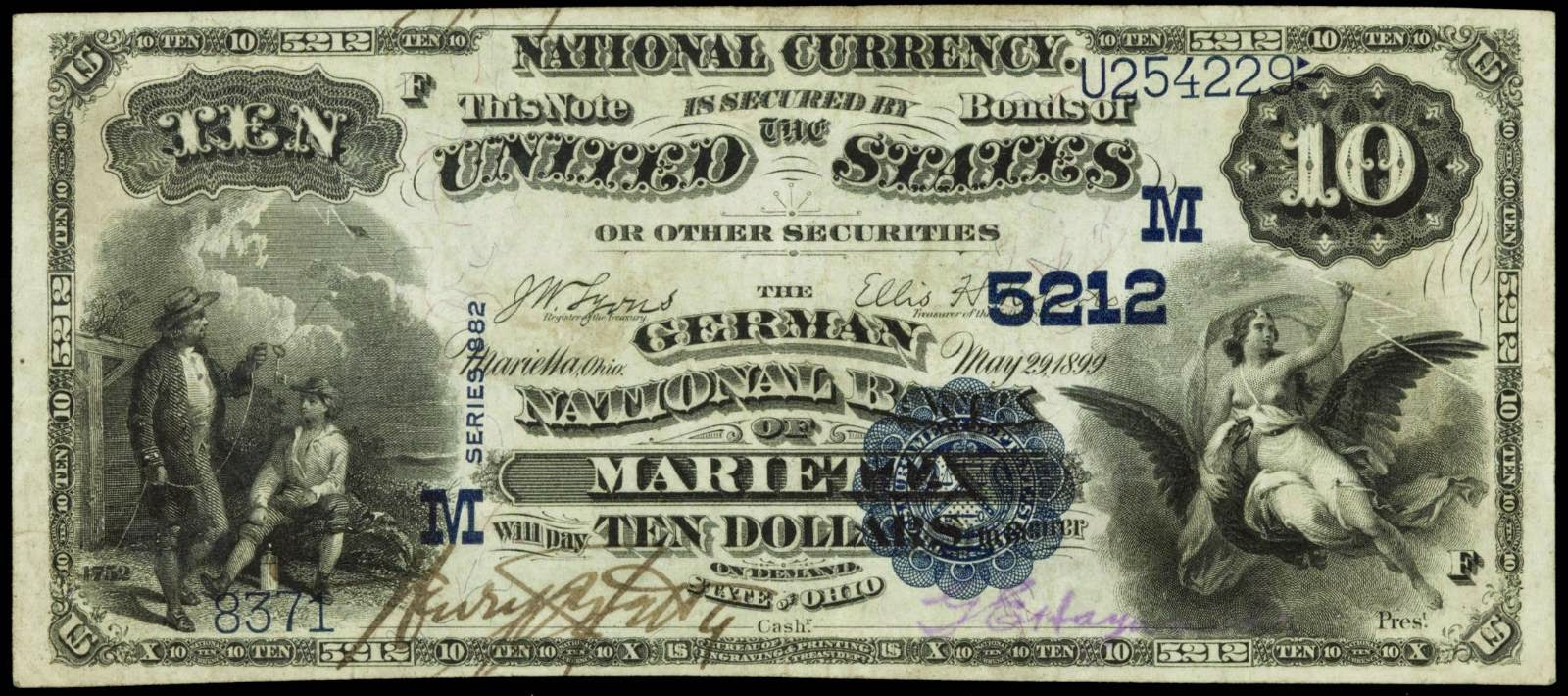 1882 10 Dollar National Currency Bank Note