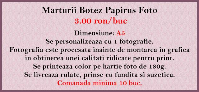 marturii botez papirus fetite
