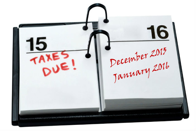Tax Diary Of Main Events - December 2015 & January 2016