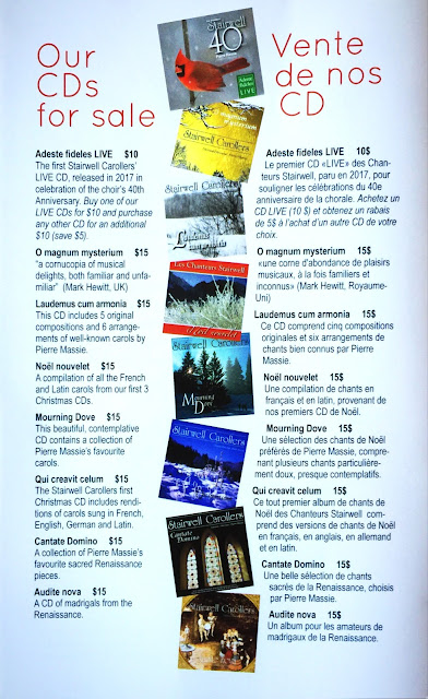 Our wide selection of CDs on sale at our concerts (and online)