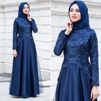 Model Baju Gamis Kombinasi Brokat Modern Terbaru Elegan
