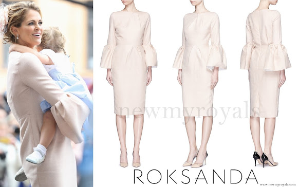 Princess Madeleine wore Roksanda 'Margot' flannel crepe bell sleeve dress