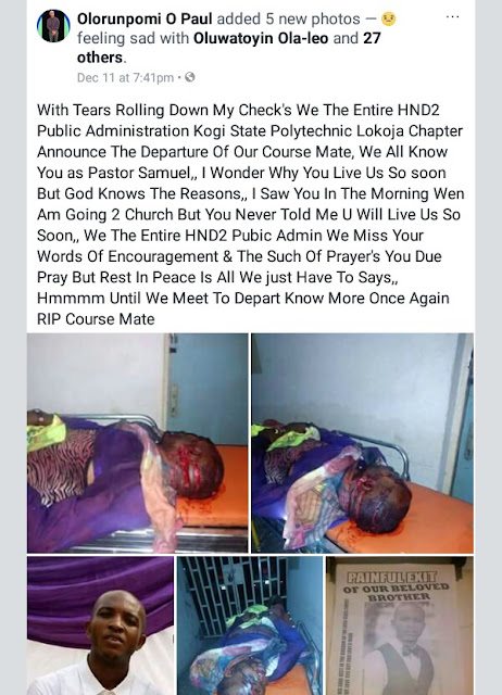 Graphic: Final year student of Kogi State Polytechnic stabbed to death by his friend