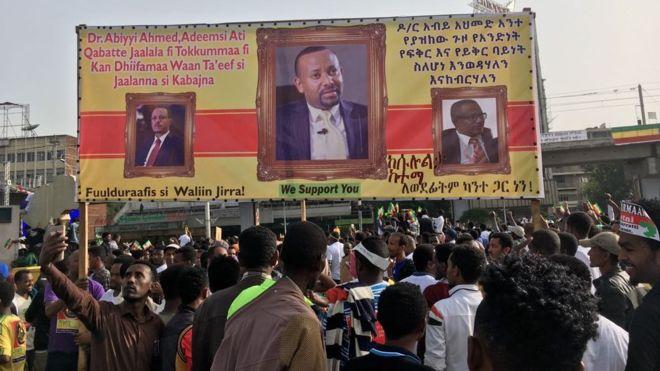 Bomu Lalipuka Waziri mkuu mpya wa Ethiopia akihutubia