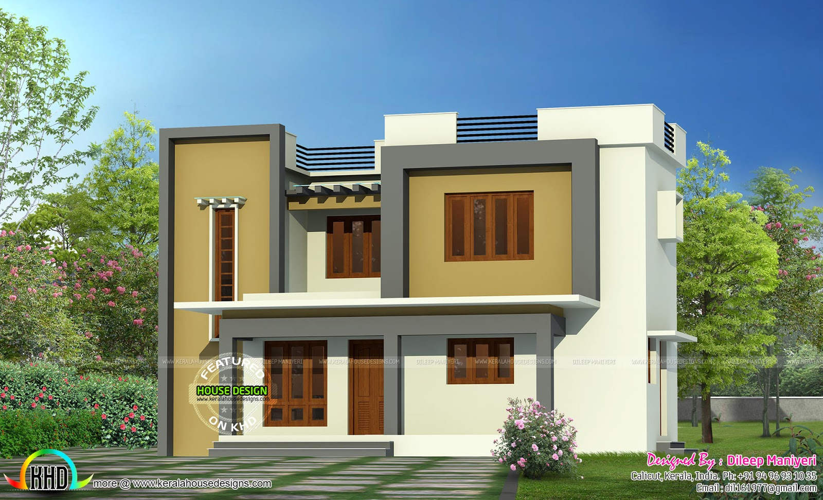 Simple flat roof home architecture kerala home design for Simple beautiful house