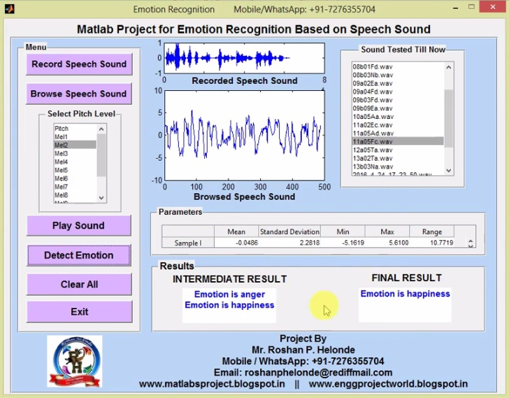 Emotion Recognition Based on Speech Sound Matlab Project