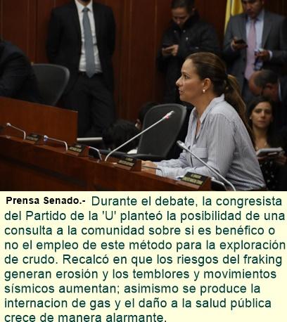 """""""La práctica del Fracking viola la ley 99 del medio ambiente"""", senadora Maritza Martínez."""