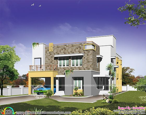 Modern home plan in 500 sq-yd