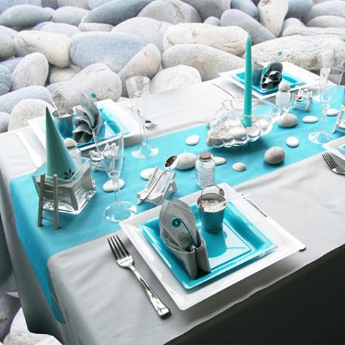 Mantel azul y blanco