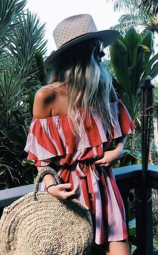 boho summer outfit idea / hat + round bag + striped jumpsuit