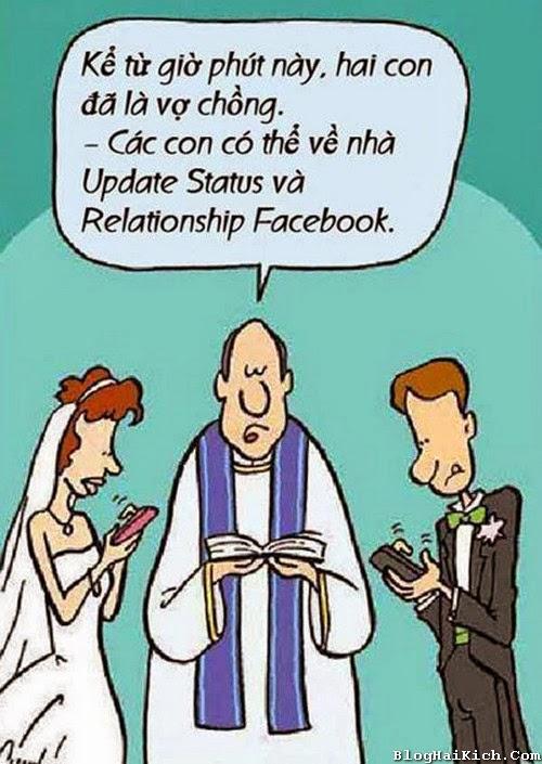 Cô dâu chú rể ghiền Facebook