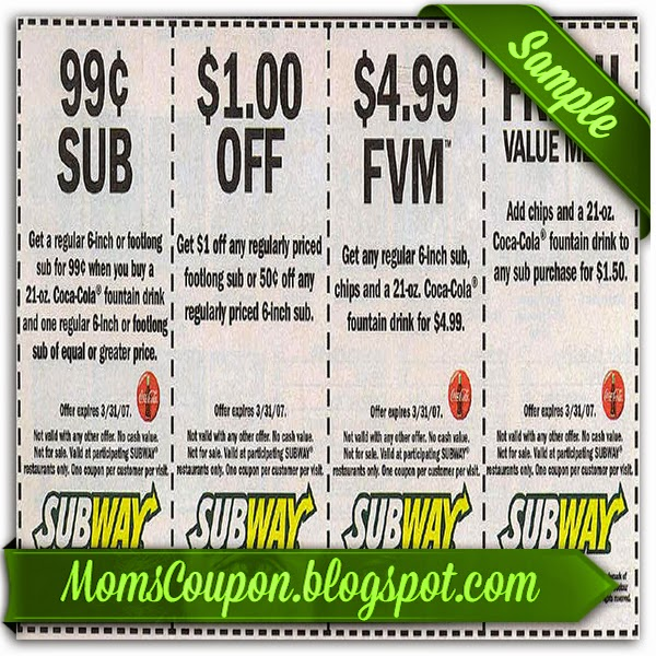 More ways to get coupons for Subway | Free Printable ...