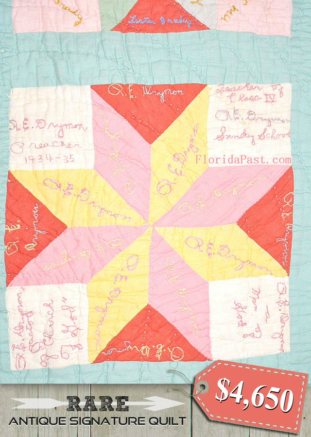Rare Antique Signature Quilt