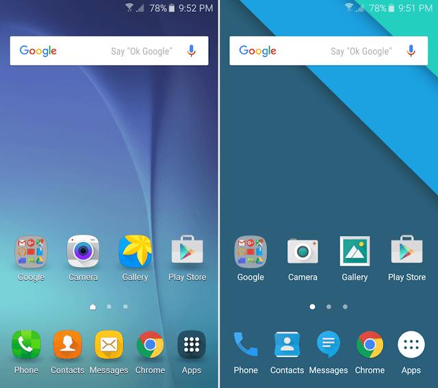 Samsung Stock Theme vs. Material Design