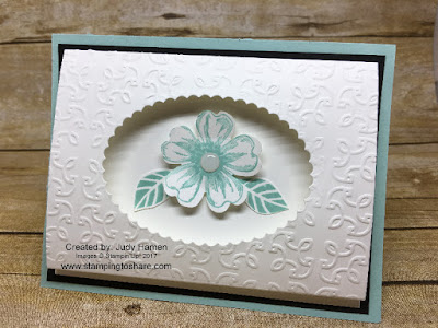 Stampin' Up! Tri-Fold Peek Through Card with Flower Shop created by Judy Hamen. Stamping to Share.