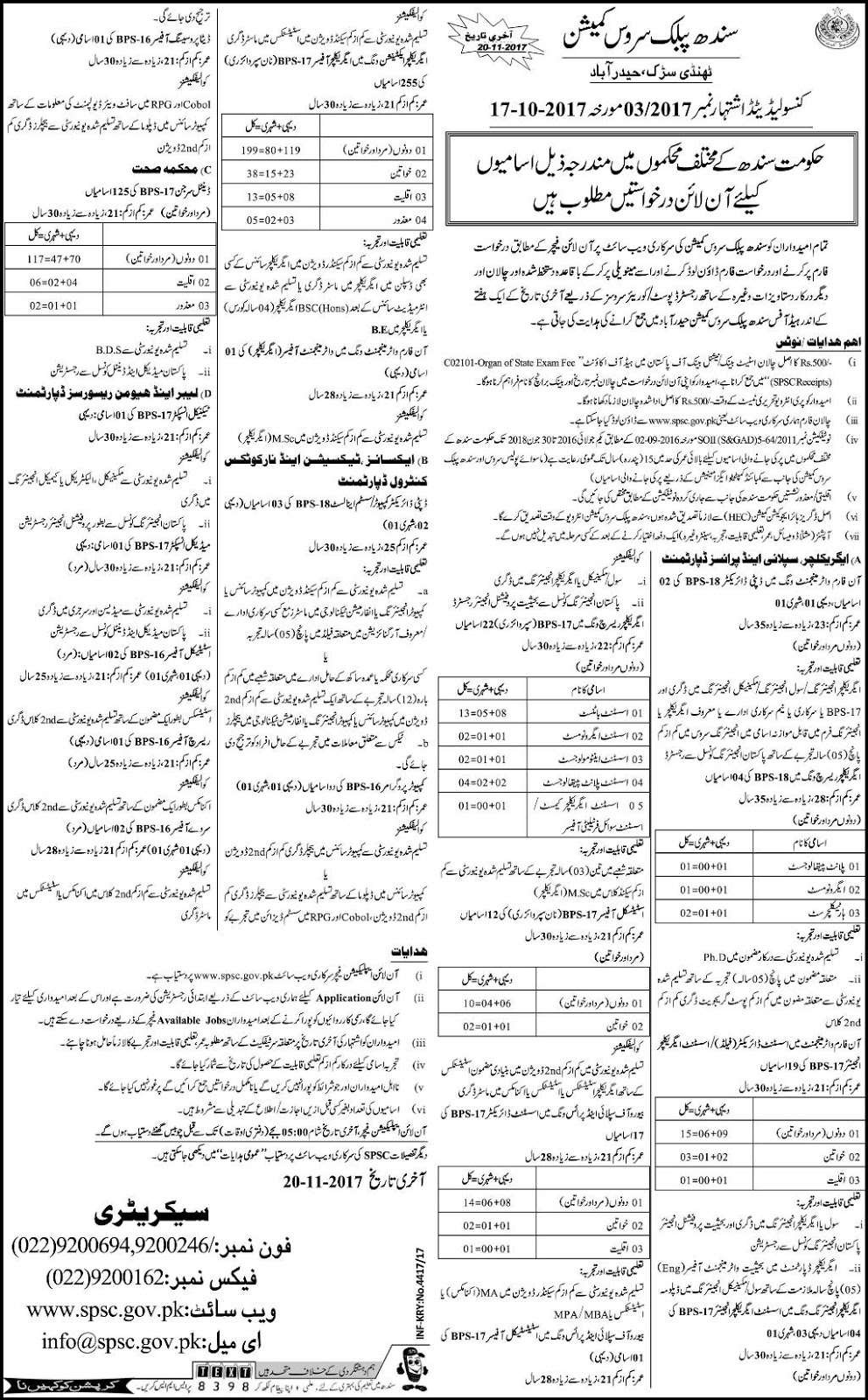 Jobs in Sindh Public Service Commission October 2017.