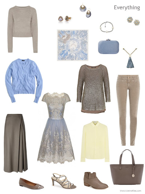 travel capsule wardrobe in taupe with light blue and yellow accents