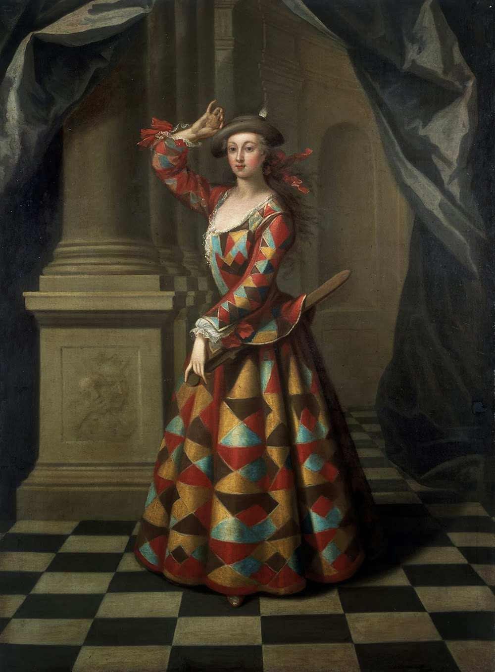 Hester Booth as a Female Harlequin by John Ellys, 1722-25
