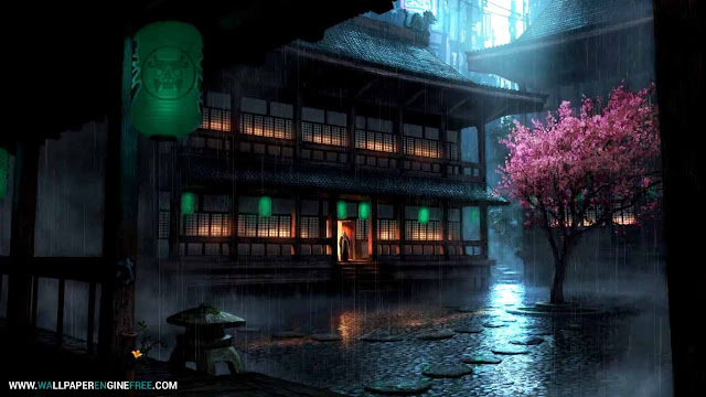 Anime Backyard Rain Wallpaper Engine