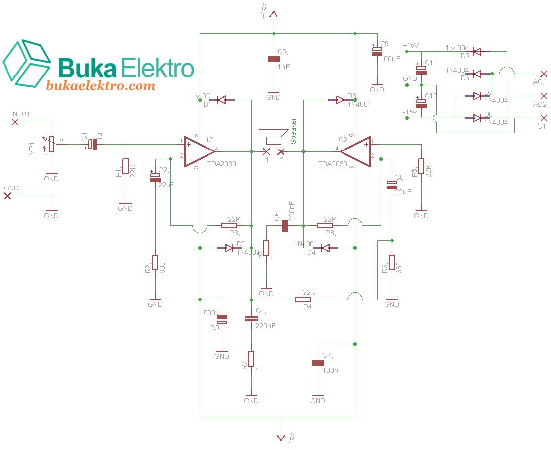 Membuat Rangkaian Amplifier Ic Tda2030 Beserta Layout Buka Elektro Tda4935 Bridge Circuit Btl Tda 2030