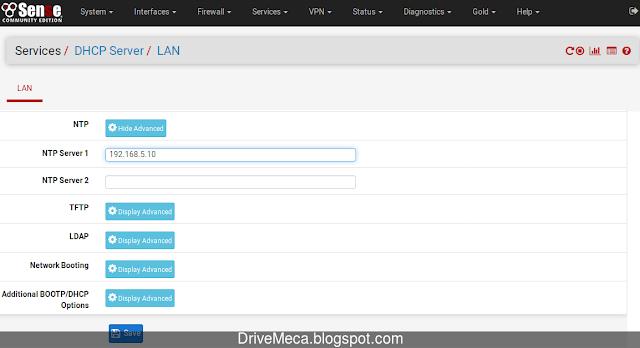 Agregando un NTP Server a pfSense DHCP Server