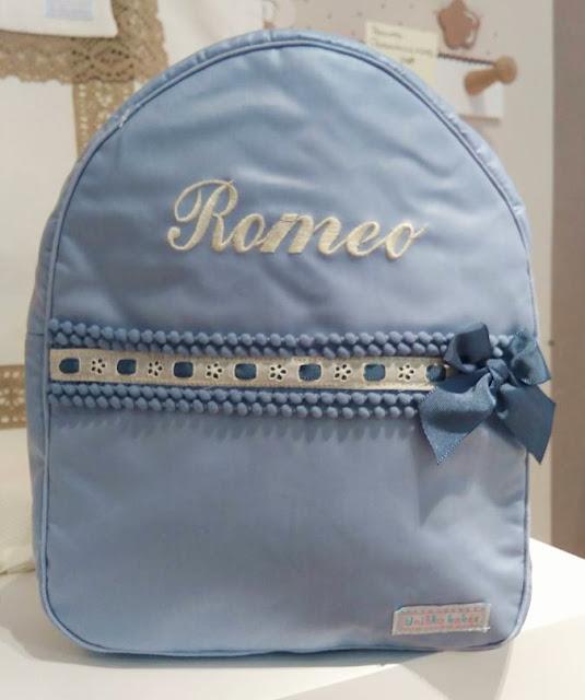 bolsa guarderia personalizada azul beige