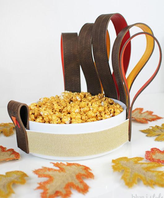 Belts upcycled to create Thanksgiving serving dish