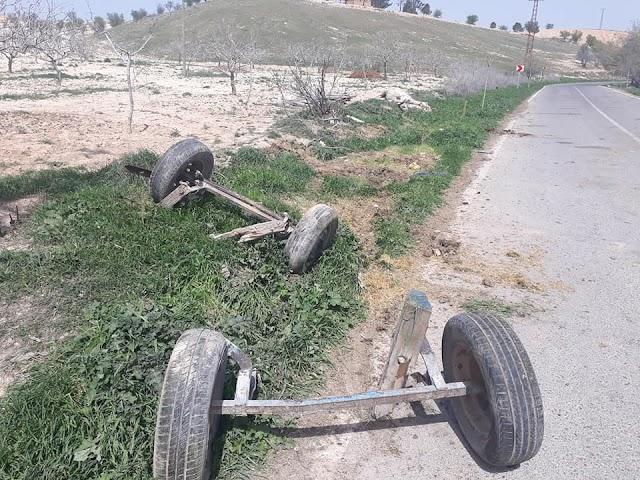 Bozova'da araç at arabasına çarptı