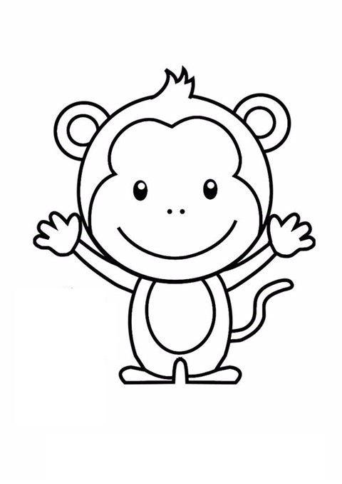 Tranh tô màu con khỉ đơn giản