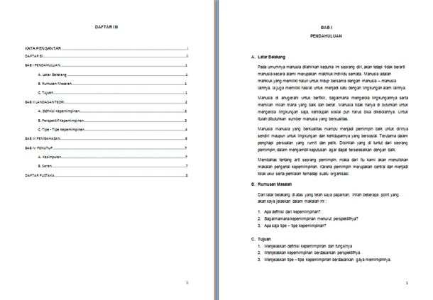 Contoh Makalah Kepemimpinan Format Doc Docx Microsoft Word Lengkap Contoh Docs