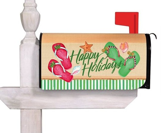 Beach Theme Christmas Holiday Mailbox Cover