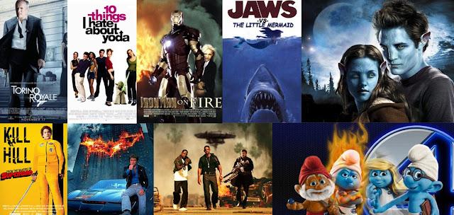 Vezi O Colecţie De Postere Ale Unor Filme Celebre Amestecate Într-un Colaj Haios