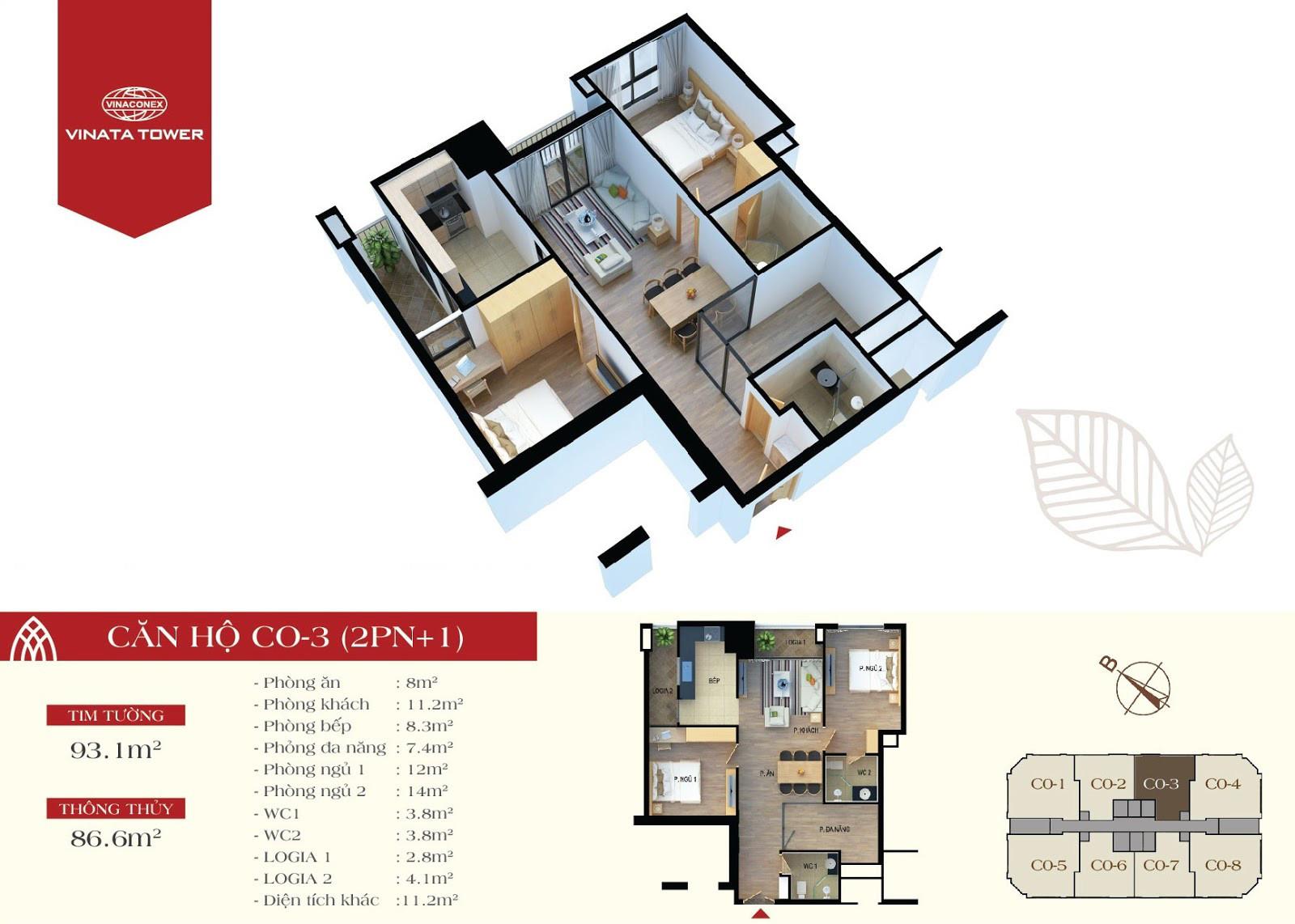 Thiết kế chi tiết căn hộ CO-03 DT 86,6m2 - 2PN, 1 đa năng, 2VS