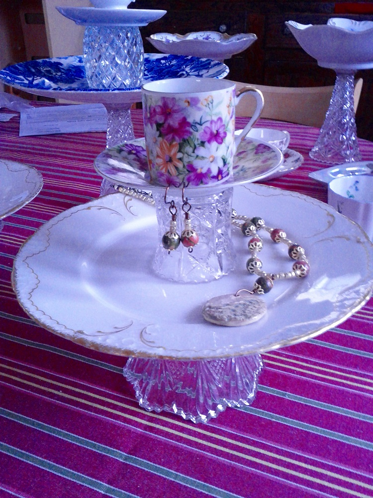 Crazy Thrifty Crafts Antique China And Glass Jewelry Stands