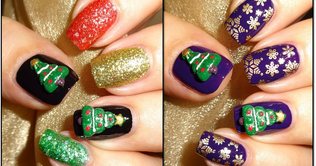 Christmas 3d Nail Art: Wendy's Delights: 3D Nail Art Christmas Trees From