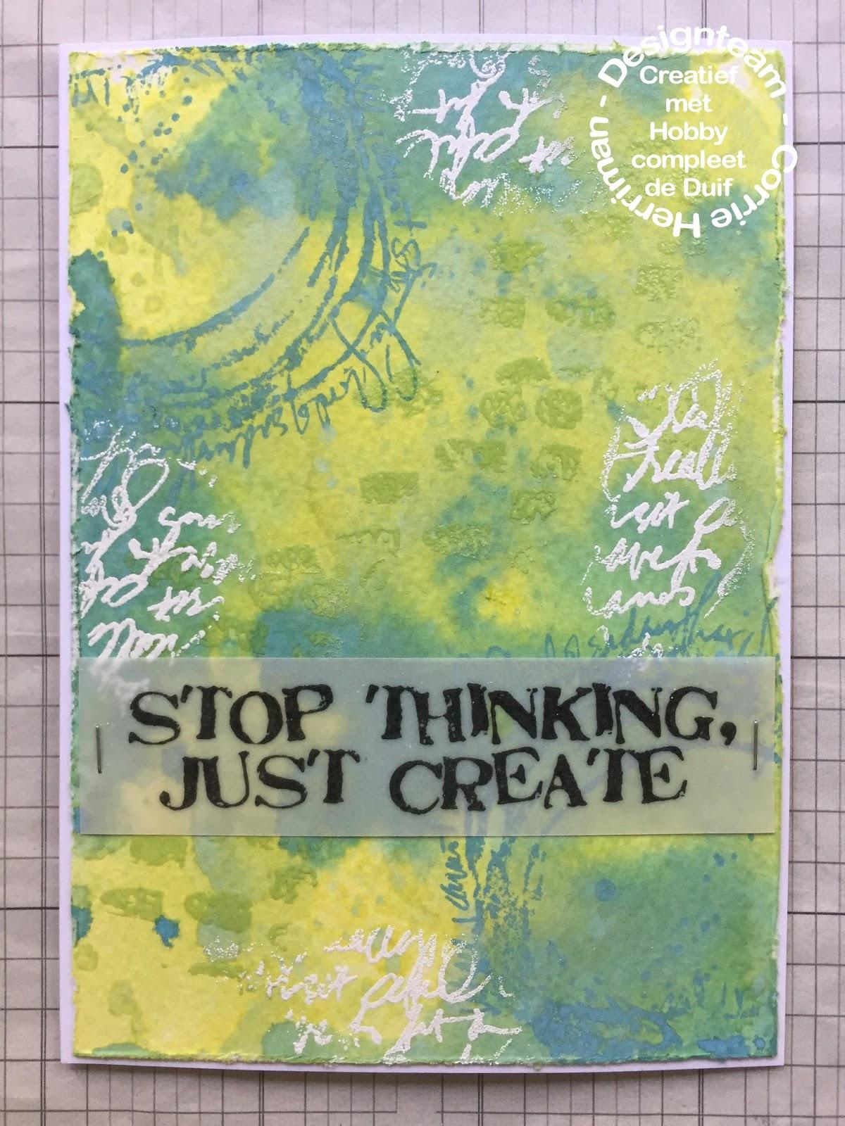 Hobbycompleet De Duif.Madebychook Stop Thinking Just Create