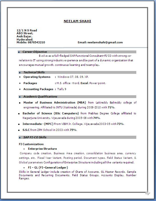 Sap fico resume 3 years experience for Two years experience resume sample
