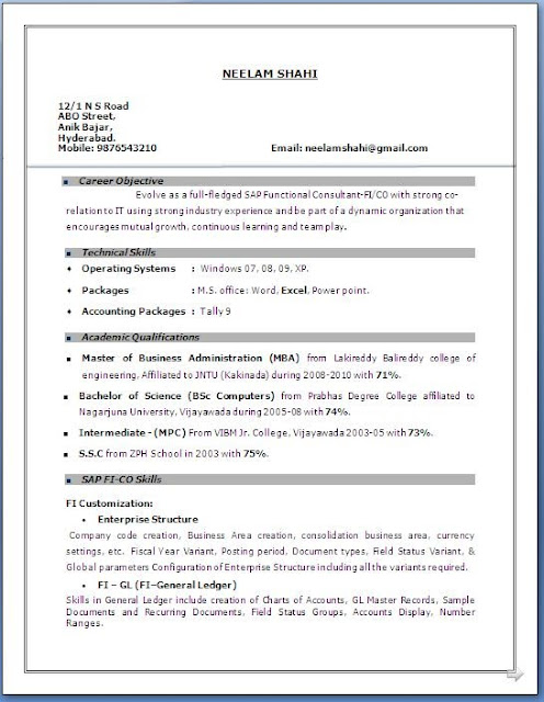 sample resume for 1 year experience in finance
