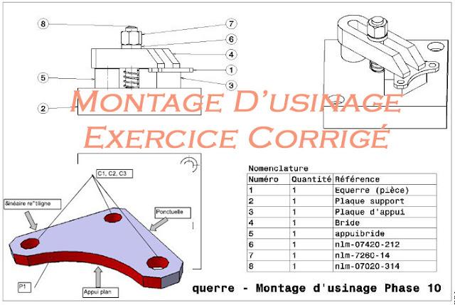 Montage d'usinage exercices corrigés en pdf - Gamme de montage -Contrat de phase - dossier de fabrication