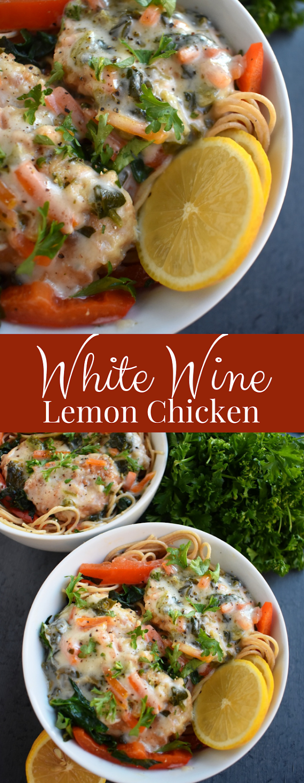 White Wine Lemon Chicken features a creamy white wine lemon sauce with spinach, carrots and red peppers served over angel hair pasta and is ready in just 15 minutes! www.nutritionistreviews.com #dinner #easydinner #chicken #pasta