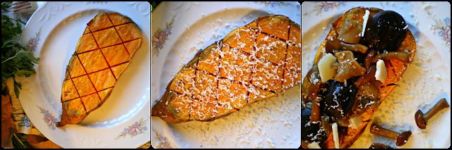Batata asada con setas y parmesano: Montaje del plato