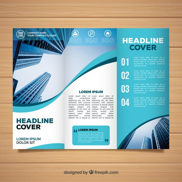 60 free brochure templates wavy trifold business brochure template free vector friedricerecipe Gallery