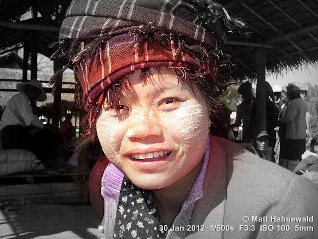 Burma, Myanmar, Inle Lake, Intha woman, Burmese woman, people, street portrait, headshot, Burmese market woman, focal black and white, thanaka face cosmetic