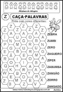 Caça-palavras letra Z