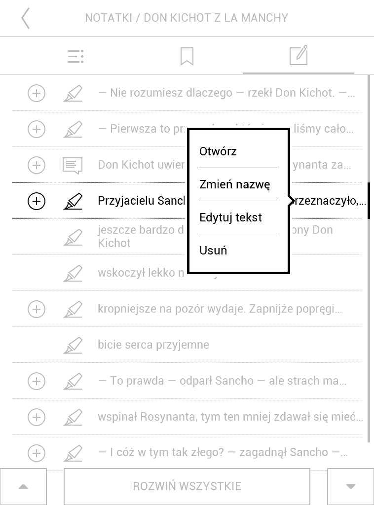 Kontekstowe menu zaznaczenia wybranego z listy w PocketBook Aqua 2